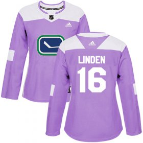 Wholesale Cheap Adidas Canucks #16 Trevor Linden Purple Authentic Fights Cancer Women\'s Stitched NHL Jersey