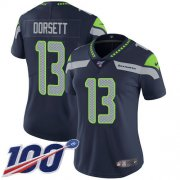 Wholesale Cheap Nike Seahawks #13 Phillip Dorsett Steel Blue Team Color Women's Stitched NFL 100th Season Vapor Untouchable Limited Jersey
