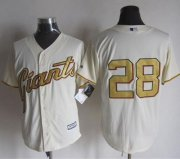 Wholesale Cheap Giants #28 Buster Posey Cream(Gold No.) New Cool Base Stitched MLB Jersey