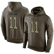Wholesale Cheap NFL Men's Nike New England Patriots #11 Julian Edelman Stitched Green Olive Salute To Service KO Performance Hoodie