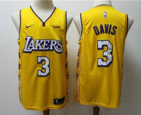 Wholesale Cheap Men\'s Los Angeles Lakers #3 Anthony Davis Yellow 2020 Nike City Edition Swingman Jersey With The Sponsor Logo