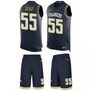 Wholesale Cheap Nike Chargers #55 Junior Seau Navy Blue Team Color Men's Stitched NFL Limited Tank Top Suit Jersey