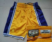 Wholesale Cheap Men's Los Angeles Lakers #24 Kobe Bryant 1996-97 Yellow Hardwood Classics Soul Swingman Throwback Shorts