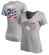Wholesale Cheap Women's Jacksonville Jaguars #20 Jalen Ramsey NFL Pro Line by Fanatics Branded Banner Wave Name & Number T-Shirt Heathered Gray
