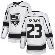 Wholesale Cheap Adidas Kings #23 Dustin Brown White Road Authentic Stitched Youth NHL Jersey