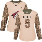 Wholesale Cheap Adidas Coyotes #9 Clayton Keller Camo Authentic 2017 Veterans Day Women's Stitched NHL Jersey