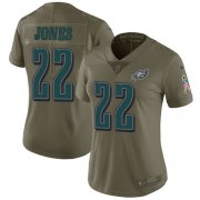 Wholesale Cheap Nike Eagles #22 Sidney Jones Olive Women's Stitched NFL Limited 2017 Salute to Service Jersey