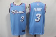 Wholesale Cheap Men's Miami Heat #3 Dwyane Wade Light Blue Nike Swingman 2018 playoffs Earned Edition Stitched Jersey With The Sponsor Logo