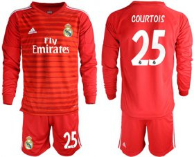 Wholesale Cheap Real Madrid #25 Courtois Red Goalkeeper Long Sleeves Soccer Club Jersey