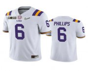 Wholesale Cheap Men's LSU Tigers #6 Jacob Phillips White 2020 National Championship Game Jersey