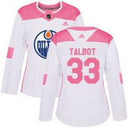 Wholesale Cheap Adidas Oilers #33 Cam Talbot White/Pink Authentic Fashion Women's Stitched NHL Jersey