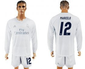 Wholesale Cheap Real Madrid #12 Marcelo Marine Environmental Protection Home Long Sleeves Soccer Club Jersey