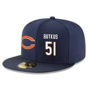 Wholesale Cheap Chicago Bears #51 Dick Butkus Snapback Cap NFL Player Navy Blue with White Number Stitched Hat