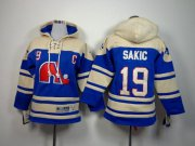 Wholesale Cheap Nordiques #19 Joe Sakic Blue Sawyer Hooded Sweatshirt Stitched Youth NHL Jersey