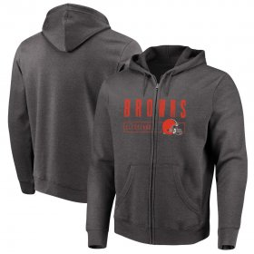 Wholesale Cheap Cleveland Browns Majestic Hyper Stack Full-Zip Hoodie Heathered Charcoal