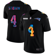 Cheap New England Patriots #4 Jarrett Stidham Men's Nike Multi-Color Black 2020 NFL Crucial Catch Vapor Untouchable Limited Jersey