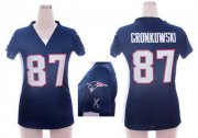 Wholesale Cheap Nike Patriots #87 Rob Gronkowski Navy Blue Team Color Draft Him Name & Number Top Women's Stitched NFL Elite Jersey