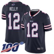 Wholesale Cheap Nike Bills #12 Jim Kelly Navy Men's Stitched NFL Limited Inverted Legend 100th Season Jersey