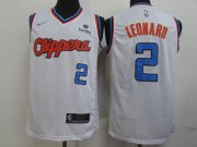 Wholesale Cheap Clippers 2 Kawhi Leonard White City Edition Nike Swingman Jerseys