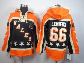 Wholesale Cheap Penguins #66 Mario Lemieux Black All-Star Sawyer Hooded Sweatshirt Stitched NHL Jersey