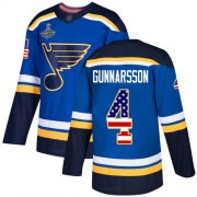 Wholesale Cheap Adidas Blues #4 Carl Gunnarsson Blue Home Authentic USA Flag Stanley Cup Champions Stitched NHL Jersey