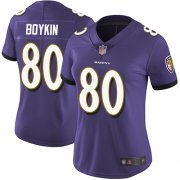 Wholesale Cheap Nike Ravens #80 Miles Boykin Purple Team Color Women's Stitched NFL Vapor Untouchable Limited Jersey