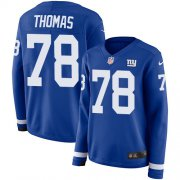 Wholesale Cheap Nike Giants #78 Andrew Thomas Royal Blue Team Color Women's Stitched NFL Limited Therma Long Sleeve Jersey