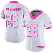 Wholesale Cheap Nike Vikings #28 Adrian Peterson White/Pink Women's Stitched NFL Limited Rush Fashion Jersey