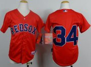 Wholesale Cheap Red Sox #34 David Ortiz Red Cool Base Stitched Youth MLB Jersey