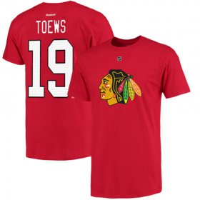 Wholesale Cheap Chicago Blackhawks #19 Jonathan Toews Reebok Name and Number Player T-Shirt Red