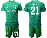 Wholesale Cheap Juventus #21 Pinsoglio Green Goalkeeper Soccer Club Jersey