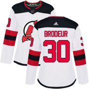 Wholesale Cheap Adidas Devils #30 Martin Brodeur White Road Authentic Women's Stitched NHL Jersey