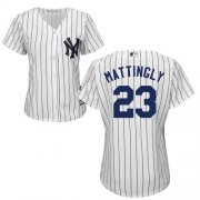 Wholesale Cheap Yankees #23 Don Mattingly White Strip Home Women's Stitched MLB Jersey