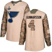 Wholesale Cheap Adidas Blues #4 Carl Gunnarsson Camo Authentic 2017 Veterans Day Stanley Cup Champions Stitched NHL Jersey