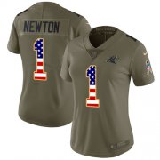 Wholesale Cheap Nike Panthers #1 Cam Newton Olive/USA Flag Women's Stitched NFL Limited 2017 Salute to Service Jersey