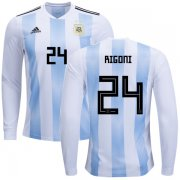 Wholesale Cheap Argentina #24 Rigoni Home Long Sleeves Kid Soccer Country Jersey