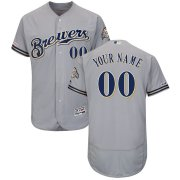 Wholesale Cheap Milwaukee Brewers Majestic Road Flex Base Authentic Collection Custom Jersey Gray