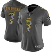Wholesale Cheap Nike Steelers #7 Ben Roethlisberger Gray Static Women's Stitched NFL Vapor Untouchable Limited Jersey