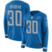 Wholesale Cheap Nike Lions #30 Jeff Okudah Blue Team Color Women's Stitched NFL Limited Therma Long Sleeve Jersey