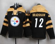 Wholesale Cheap Nike Steelers #12 Terry Bradshaw Black Player Pullover NFL Hoodie