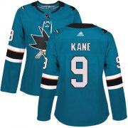 Wholesale Cheap Adidas Sharks #9 Evander Kane Teal Home Authentic Women's Stitched NHL Jersey