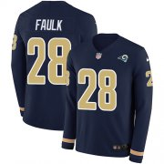 Wholesale Cheap Nike Rams #28 Marshall Faulk Navy Blue Team Color Men's Stitched NFL Limited Therma Long Sleeve Jersey
