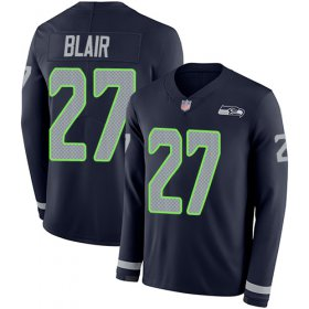 Wholesale Cheap Nike Seahawks #27 Marquise Blair Steel Blue Team Color Men\'s Stitched NFL Limited Therma Long Sleeve Jersey