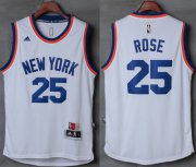 Wholesale Cheap Knicks #25 Derrick Rose New White Stitched NBA Jersey