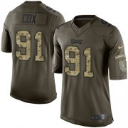 Wholesale Cheap Nike Eagles #91 Fletcher Cox Green Youth Stitched NFL Limited 2015 Salute to Service Jersey
