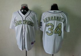 Wholesale Cheap Mariners #34 Felix Hernandez White USMC Cool Base Stitched MLB Jersey
