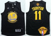 Wholesale Cheap Men's Golden State Warriors #11 Klay Thompson Black With Gold 2016 The NBA Finals Patch Jersey
