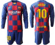 Wholesale Cheap Barcelona #10 Messi Home Long Sleeves Soccer Club Jersey