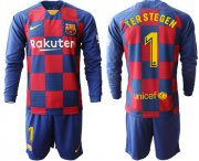 Wholesale Cheap Barcelona #1 Ter Stegen Home Long Sleeves Soccer Club Jersey