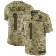 Wholesale Cheap Nike Dolphins #1 Tua Tagovailoa Camo Youth Stitched NFL Limited 2018 Salute To Service Jersey